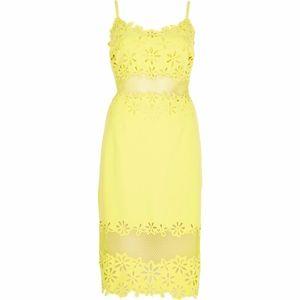 ASOS Dresses - ASOS RIVER ISLAND  Yellow Laser Cut Pencil Dress